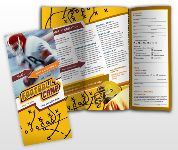 Another sports brochure using diagonals Brochure inspiration - football flyer template