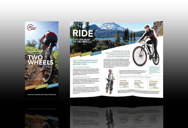 Bike brochure front and back layout Bike Project Pinterest - advertisement brochure