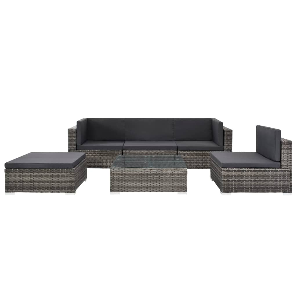 Vidaxl 6 Piece Garden Lounge Set With Cushions Poly Rattan