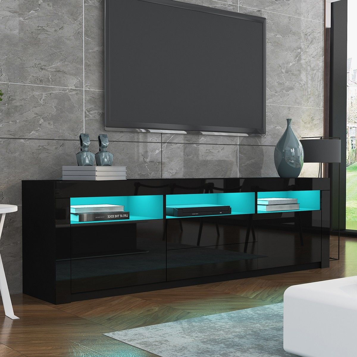 Tv Sideboard Modern 200cm Modern Wooden Tv Unit Side Cabinet Rgb Led High ...