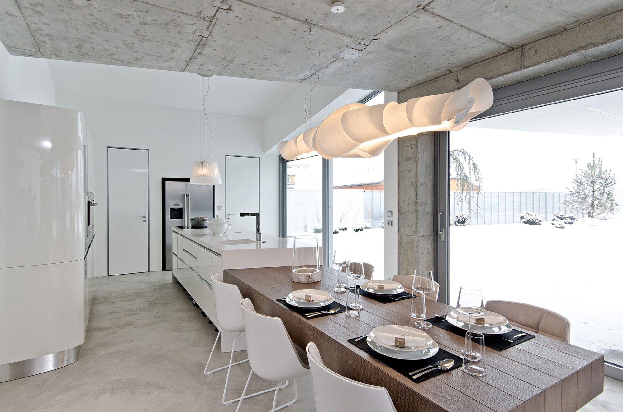 modern concrete interior by ooox concrete kitchen table