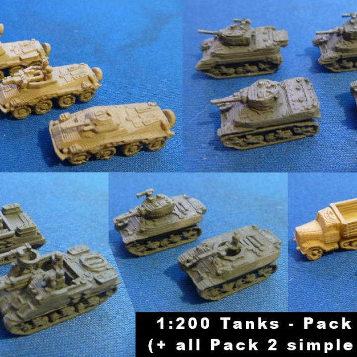3D Printable 1200 Tanks and Vehicles Pack 2 by Marco Bergman