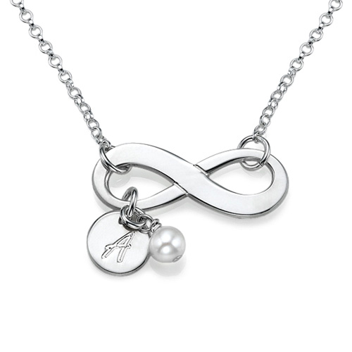 Initial Infinity Necklace In Silver Mynamenecklace Uk