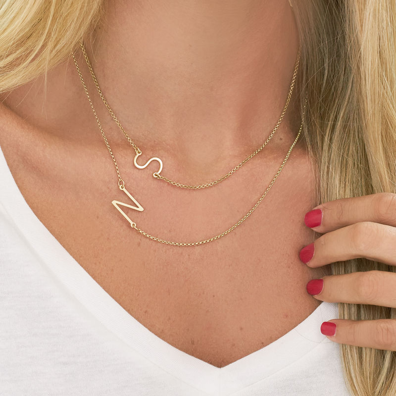 monogram necklace gold plated