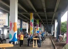 Jefferson Street Pedestrian Underpass mural and pop-up space, Rockford, IL