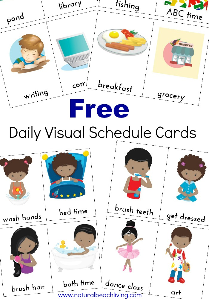 Extra Daily Visual Schedule Cards Free Printables - Natural Beach Living