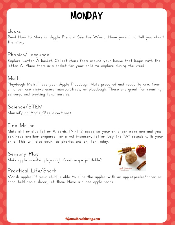 The Best Kindergarten and Preschool Apple Theme Activities and - Preschool Lesson Plan