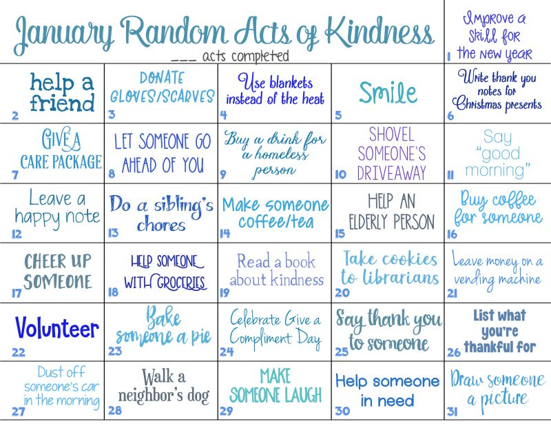 12+ Random Acts of Kindness Calendar for the Whole Year - Natural