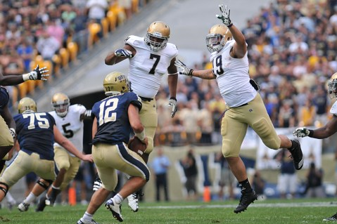 The Irish also wore TechFit jerseys on the road, like here against Pittsburgh in 2011.