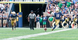 Sophomore kicker Justin Yoon kicks off during Notre Dame's victory over Nevada on Sept. 12 at Notre Dame Stadium.