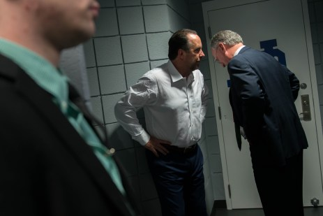 Head Coach Mike Brey and Athletic Director Jack Swarbrick chat outside the team locker room as Brey prepares his post-game speech.