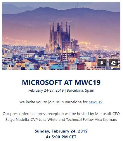 Microsoft sends out invitations for its MWC event; HoloLens news