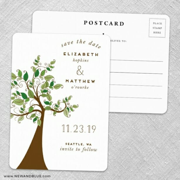 Wedding Tree Save the Date Postcards