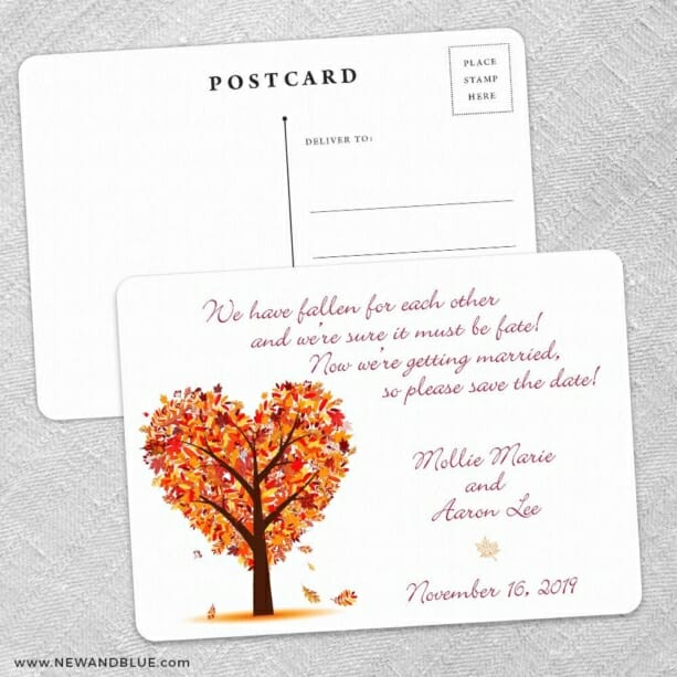 Autumn Romance Save the Date Postcards