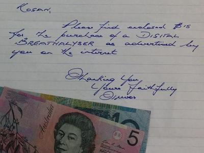 Queenslander Trevor Head sends cash through the mail to buy something online from Kogan