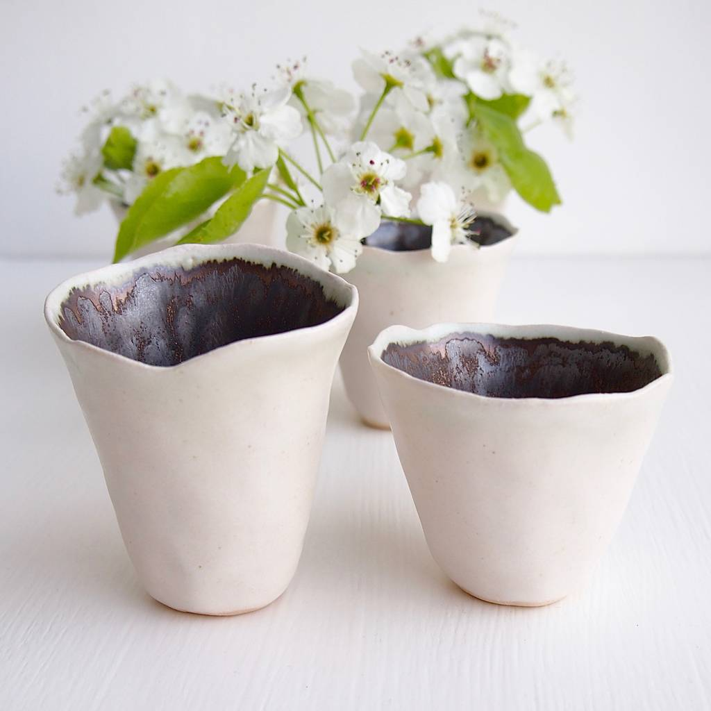 Small White Ceramic Planters Handmade Small White And Gold Ceramic Flower Vases By