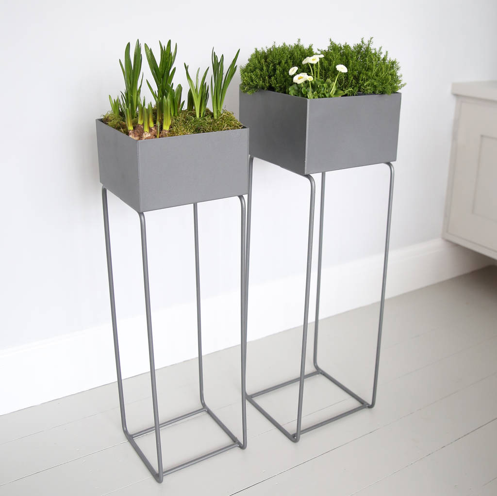 Elevated Plant Stands Grey Metal Plant Stand By Red Lilly Notonthehighstreet