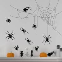 halloween spider and cobweb set wall stickers by nutmeg ...