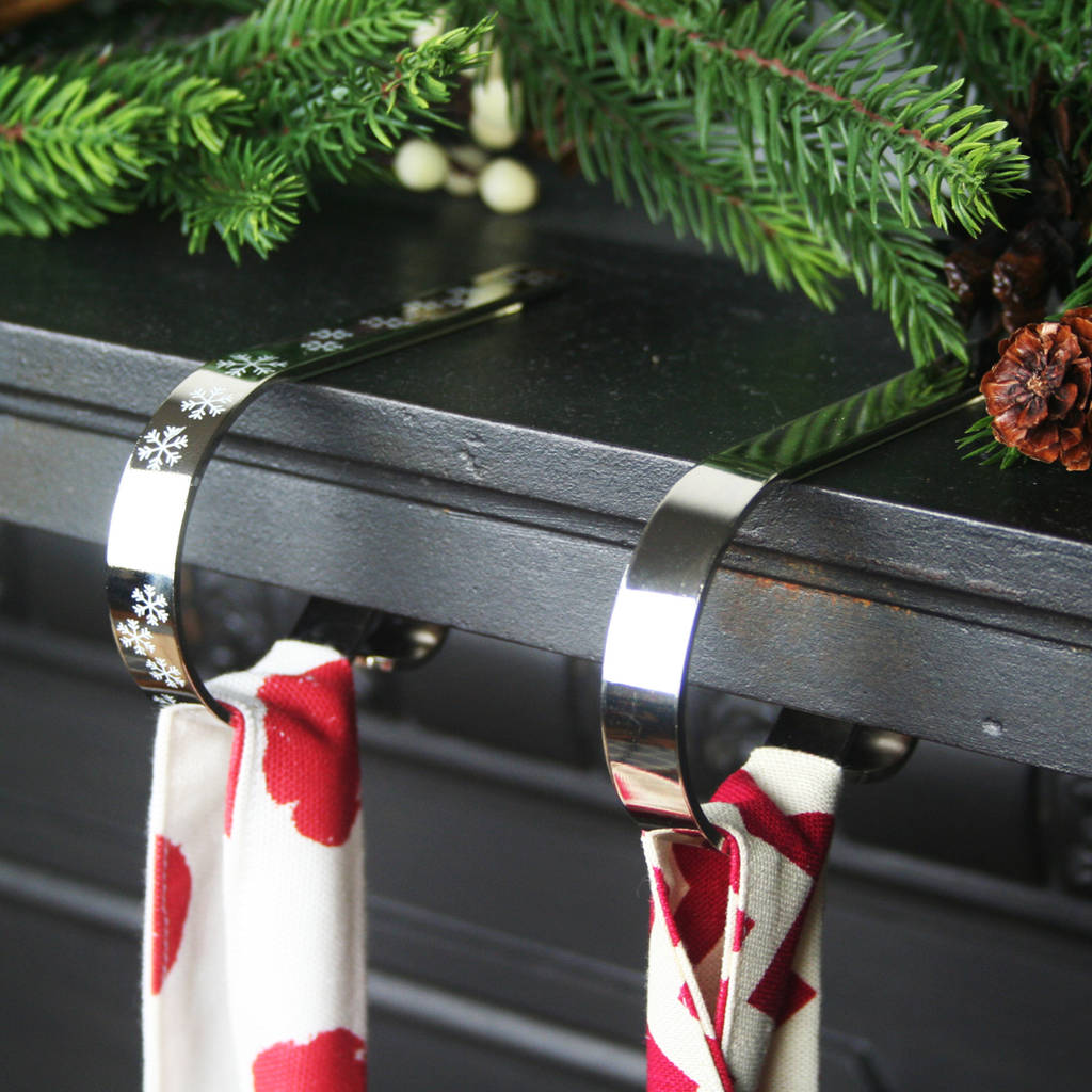 Mantle Clip Stocking Holder Shiny Silver By Hide Seek