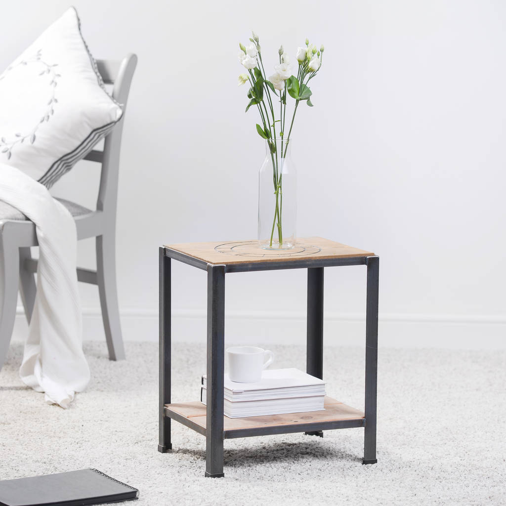Wood And Metal Side Tables Reclaimed Wood And Steel Side Table By Edgeinspired