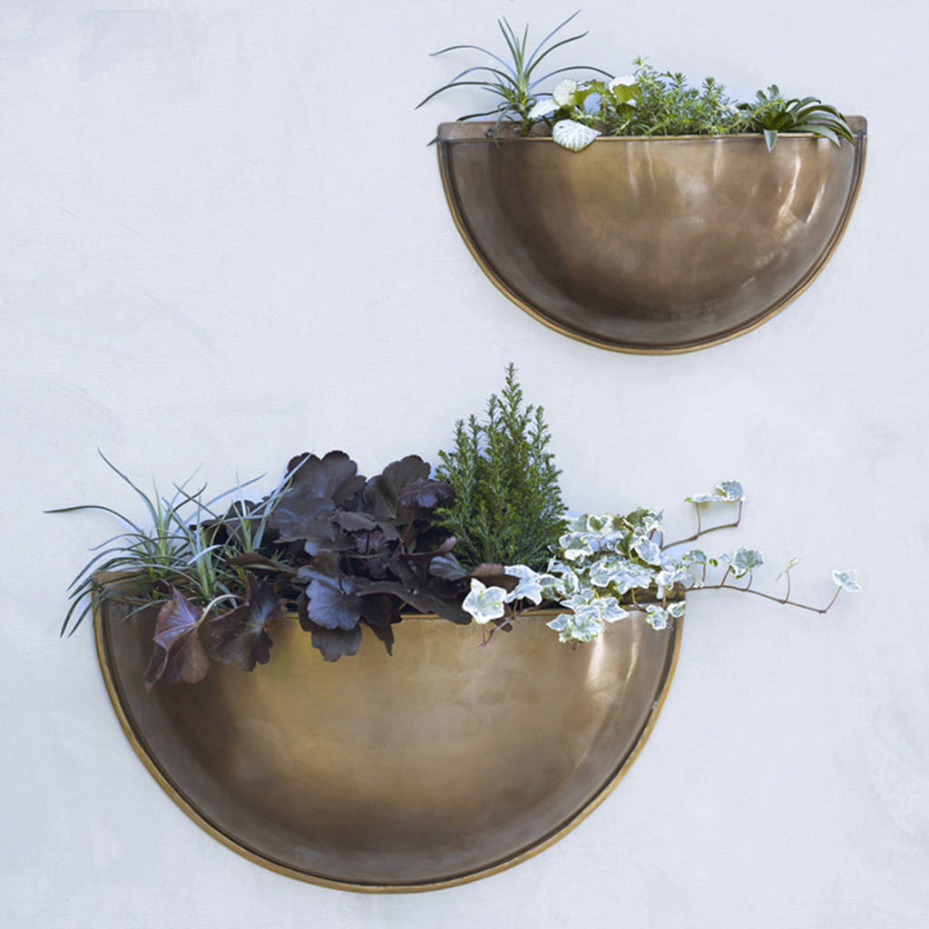 Large Wall Mounted Planters Sola Brass Wall Planter By Rowen And Wren