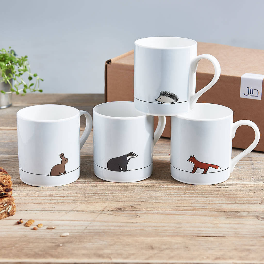 Designer Cups And Mugs Woodland Collection Mugs Set Of Four By Jin Designs