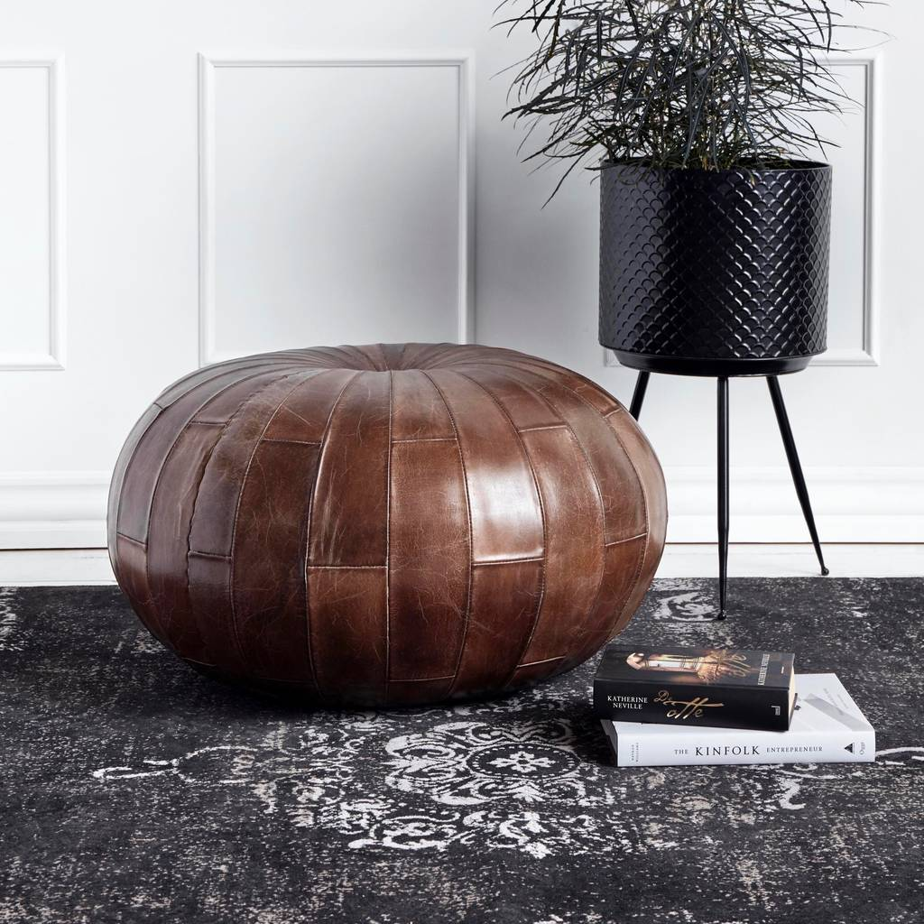 Moroccan Leather Pouf Design Sit Down Pinterest Leather Round Antique Brown Leather Pouf