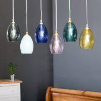 bertie small coloured glass pendant light by glow lighting ...