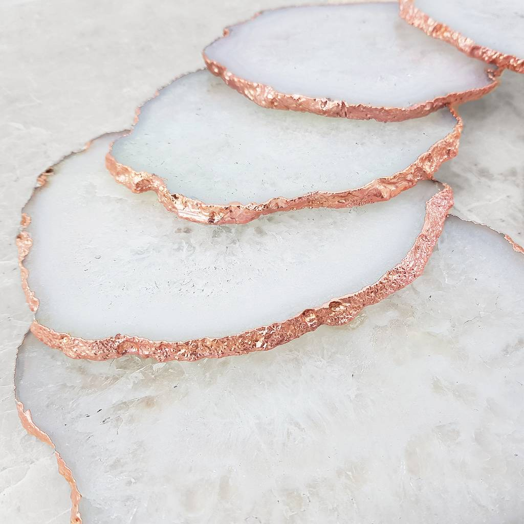 White And Gold Coasters White Crystal Premium Agate Coasters Rose Gold Edge By
