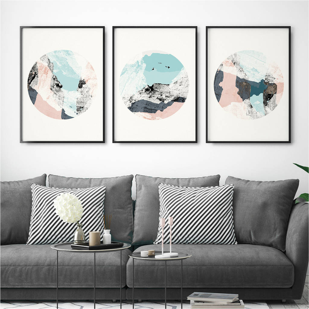 Wall Prints Set Of Three Abstract Wall Art Prints By Bronagh Kennedy