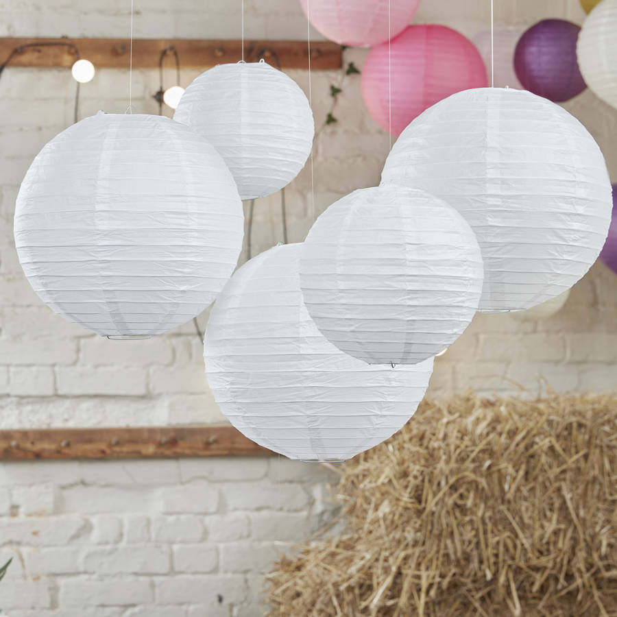 white party and wedding paper hanging lanterns lanterns for weddings White Party And Wedding Paper Hanging Lanterns