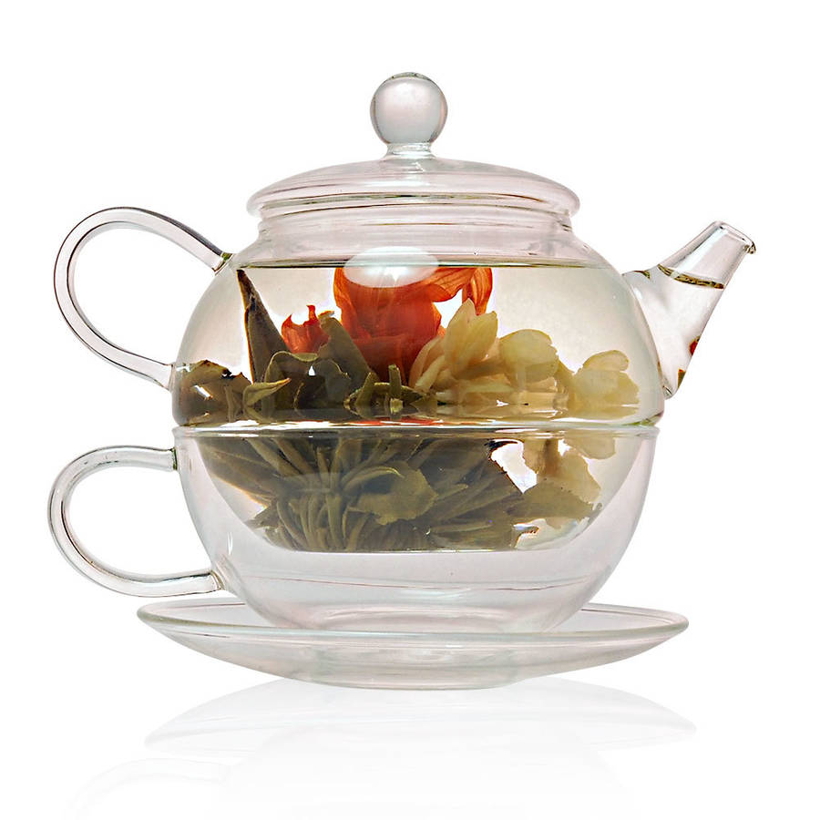 Teapot With Cup Tea For One Glass Teapot With Cup Saucer 450ml