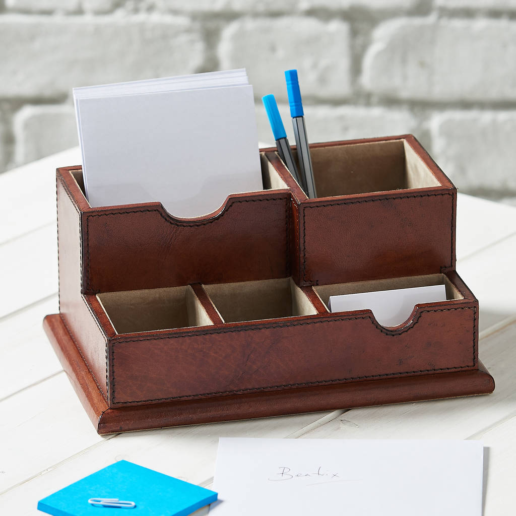 Office Desk Organiser Leather Desk Organiser By Ginger Rose Notonthehighstreet