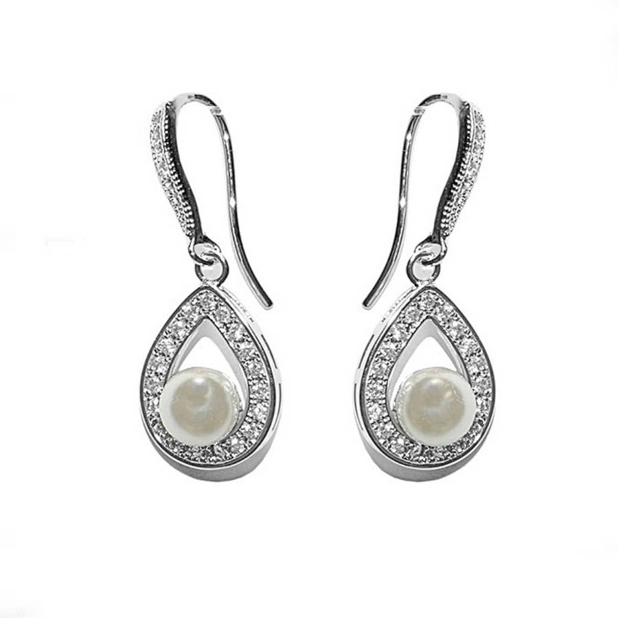 gold pearl and crystal drop wedding earrings wedding earrings Gold Pearl And Crystal Drop Wedding Earrings Vita
