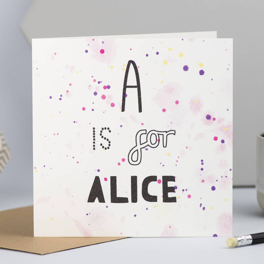 personalised new baby card with initial and name by lizzie - alphabet card
