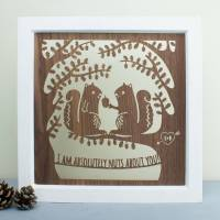 personalised anniversary squirrel wood wall art by create ...