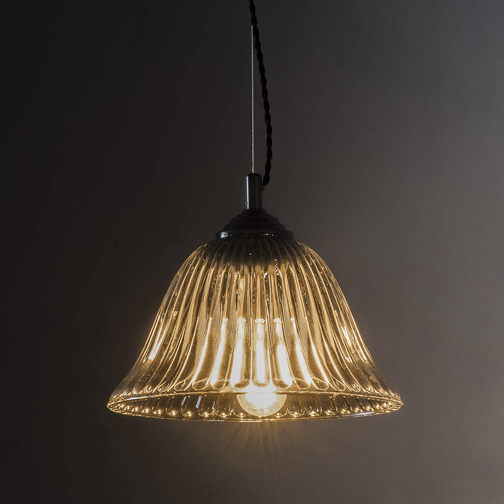 Glass Lamp Ceiling Fluted Glass Pendant Light