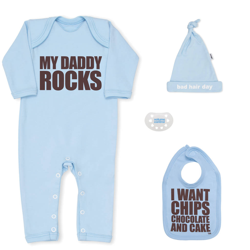 Bad Set For Baby Baby Shower Gift Boy My Daddy Rocks Newborn Gift Set