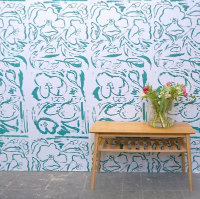 floral screen printed wallpaper rosehip and poppy print by katie charleson   notonthehighstreet.com