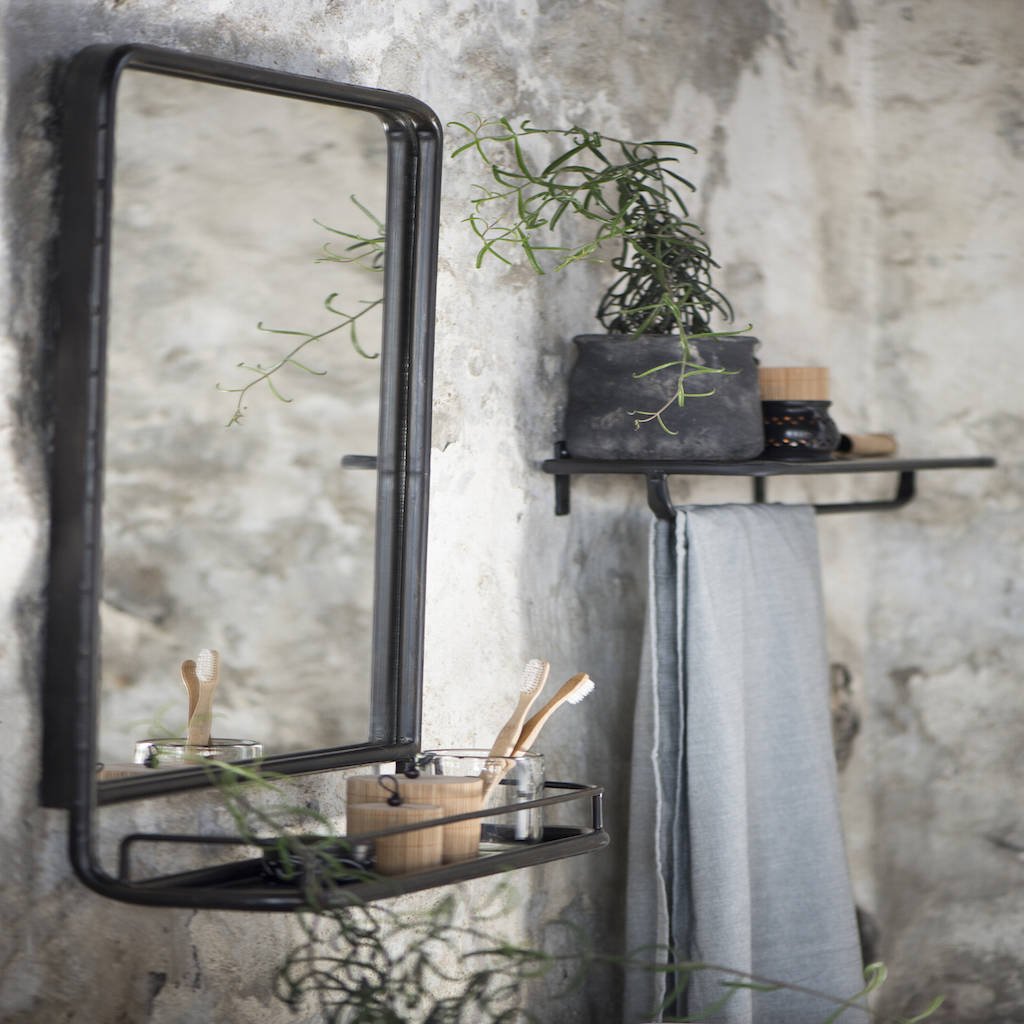 Metal Wall Mirror With Shelf Large Industrial Wall Mirror With Mini Shelf By The Forest