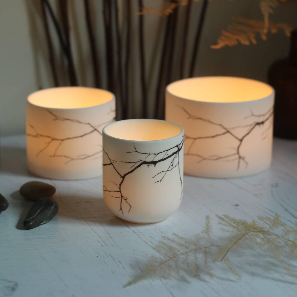 Porcelain Ceramic Branch Candle Holder By Jack Laverick