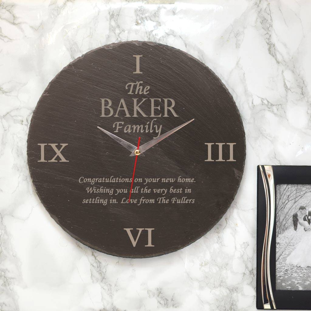 High End Housewarming Gifts Personalised Family Slate Clock Housewarming Gifts By