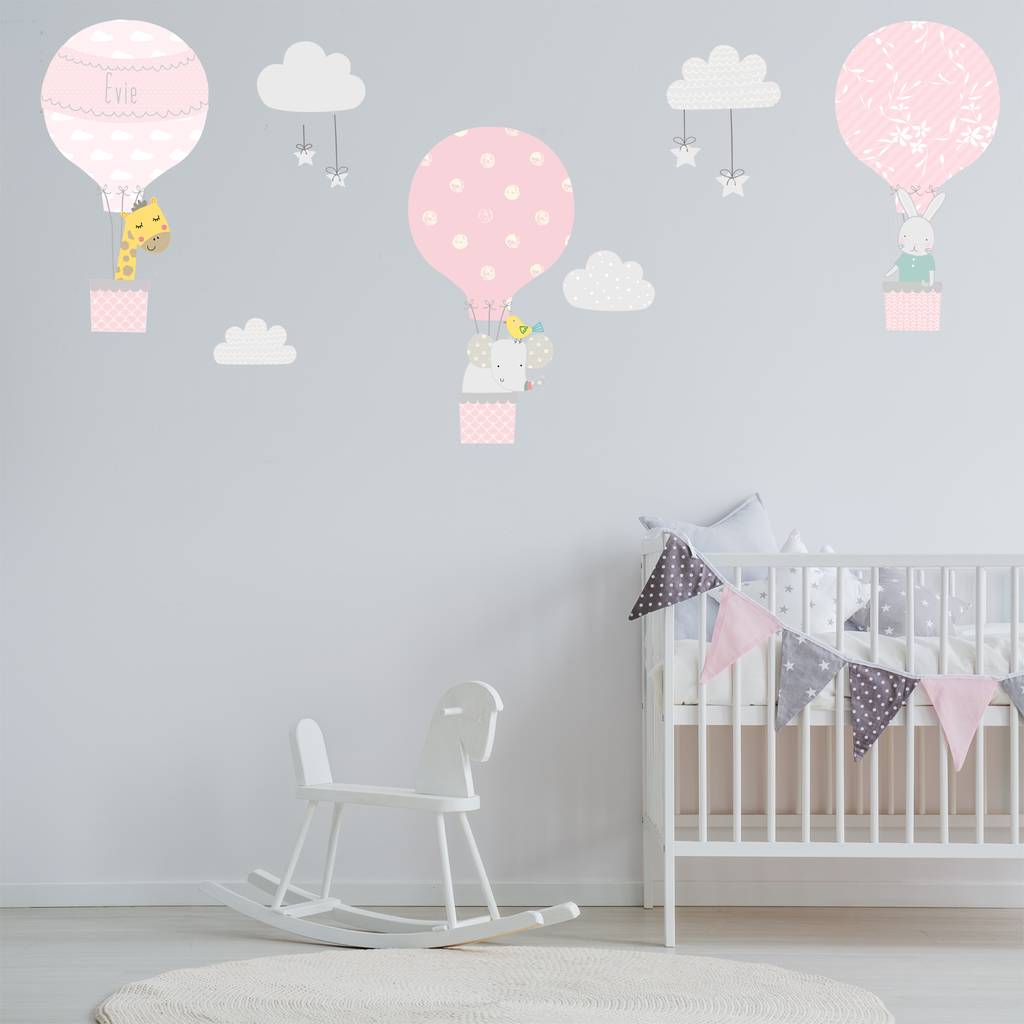Toddler Girl Bedroom Wallpaper Pink Hot Air Balloon Fabric Wall Stickers By Littleprints