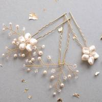 petal pearl and crystal wedding hair pin trio by jewellery