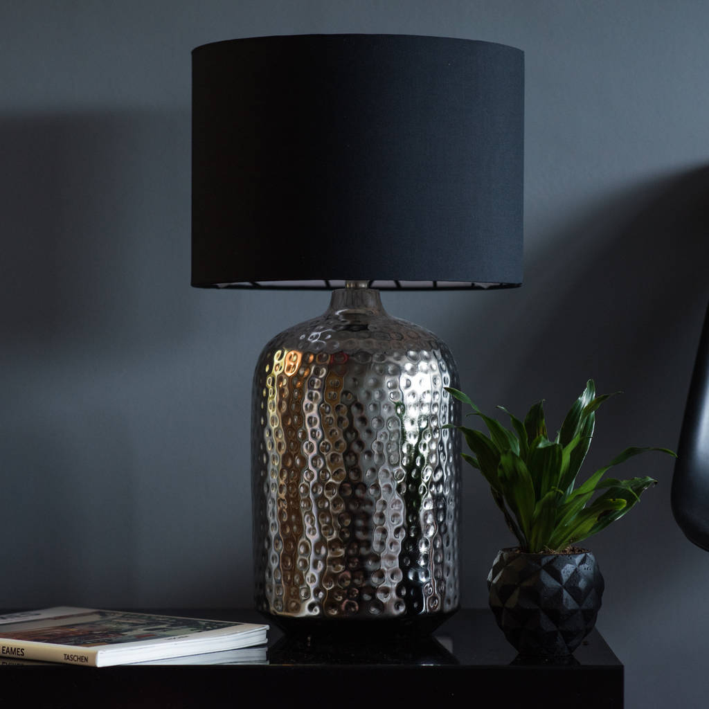 Pot Table Lamps Silver Nickel Hammered Pot Table Lamp Base By Quirk