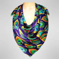 handpainted peacock feathers square scarf by pattern ...
