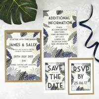 tropical botanical wedding stationery set by talk of the ...