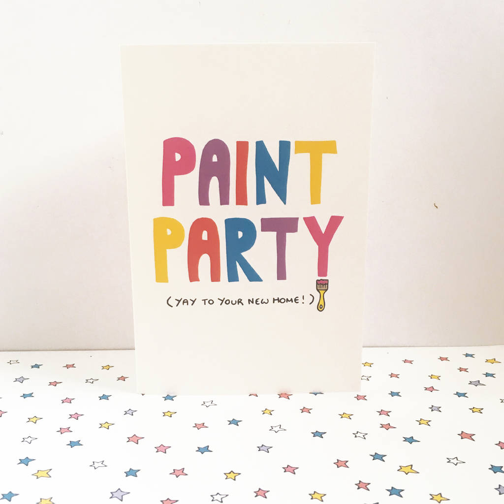 High End Housewarming Gifts New Home Card Paint Party By Ladykerry Illustrated Gifts