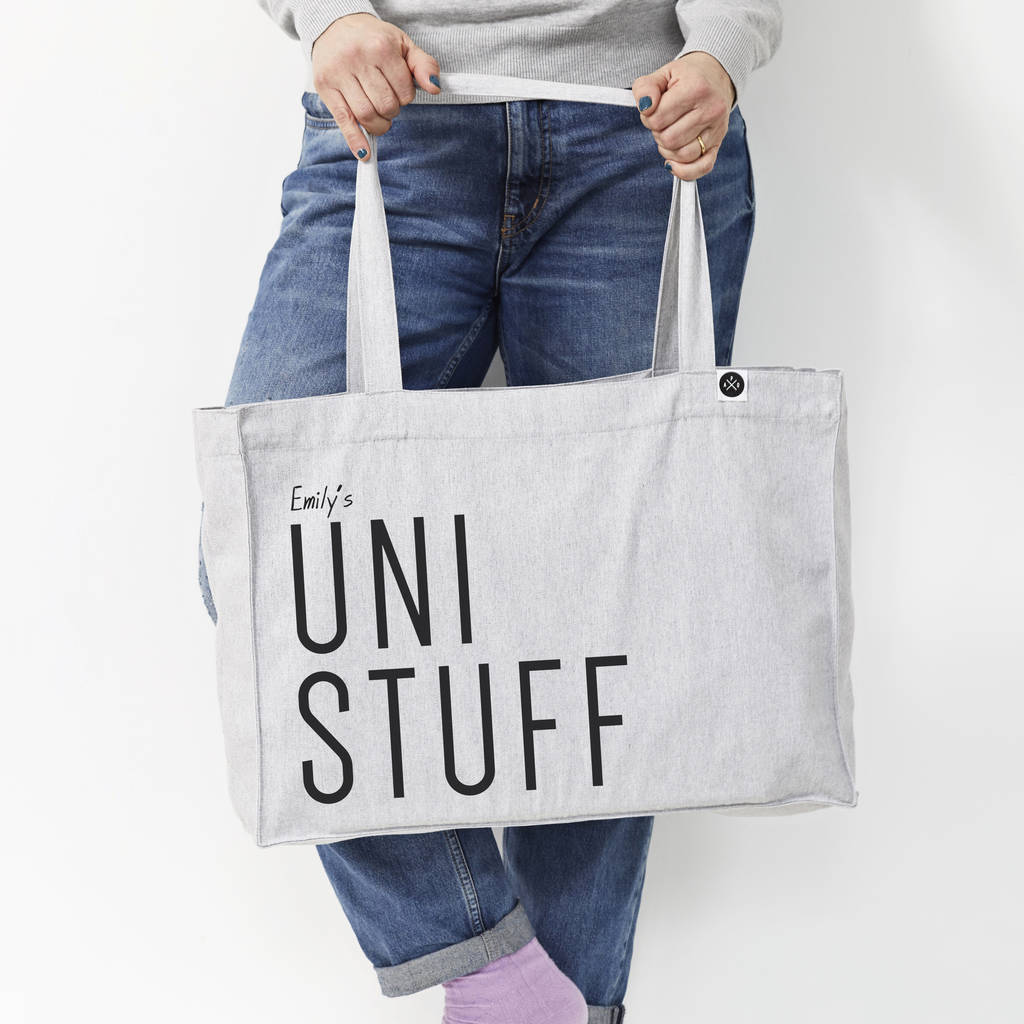 Tote Bags For Uni Personalised 39uni Stuff 39 Large Tote Bag By A Piece Of