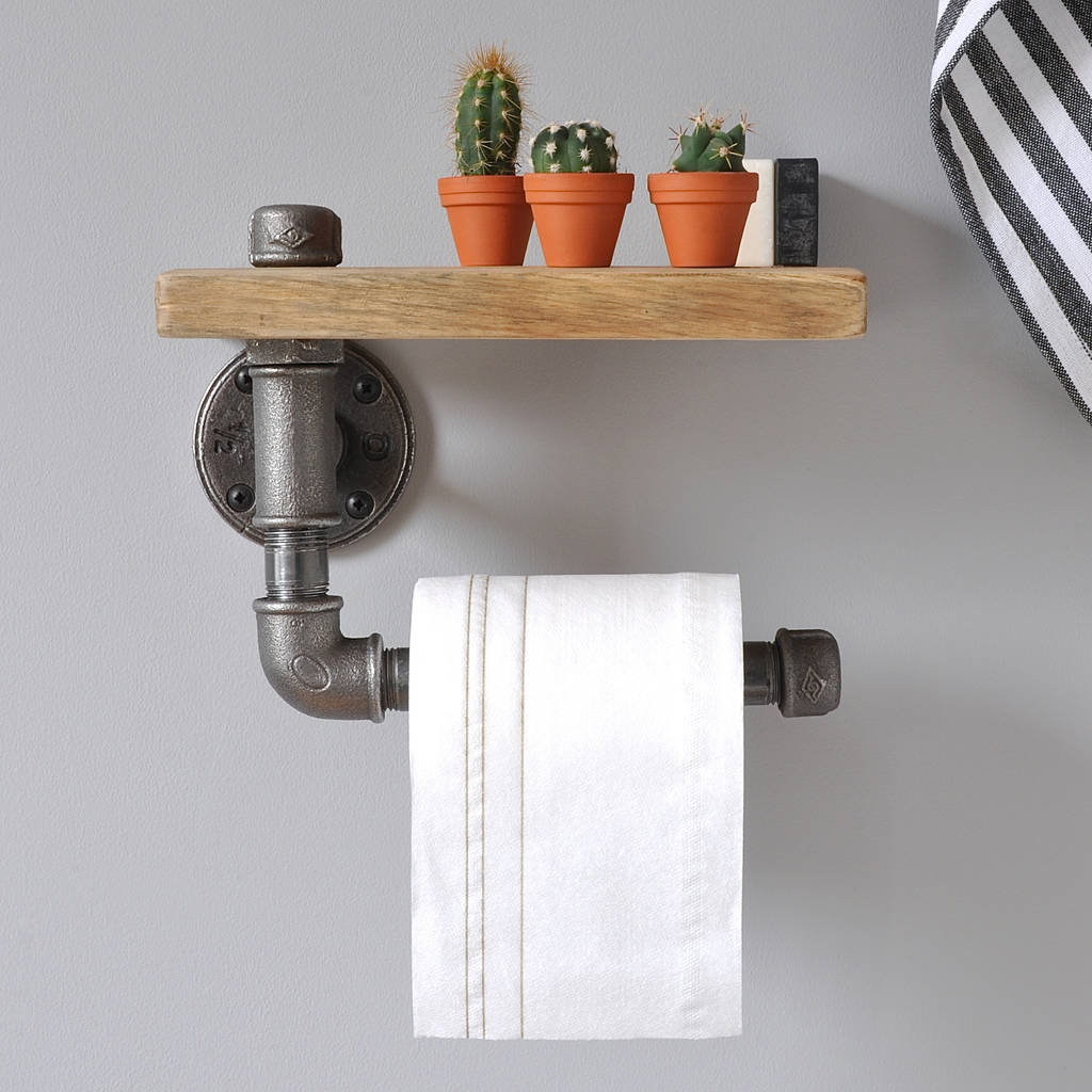 Wood Toilet Roll Holder Industrial Toilet Roll Holder And Shelf By Möa Design